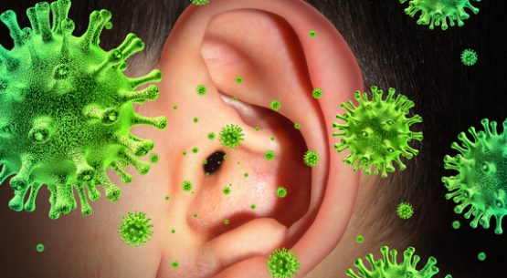 Ear infection and hearing ache caused by a contagious disease transmitting a virus infection in the inner and outer human anatomy spreading infectious germs and bacteria with painful fever symptoms.